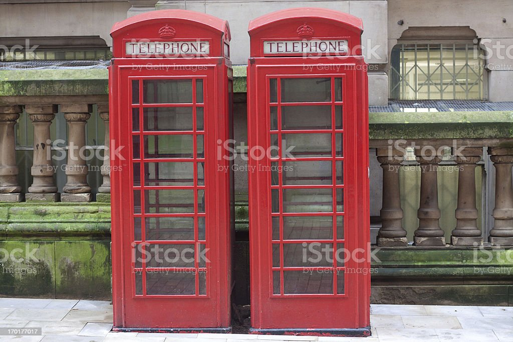 Two red British telephone boxes royalty-free stock photo