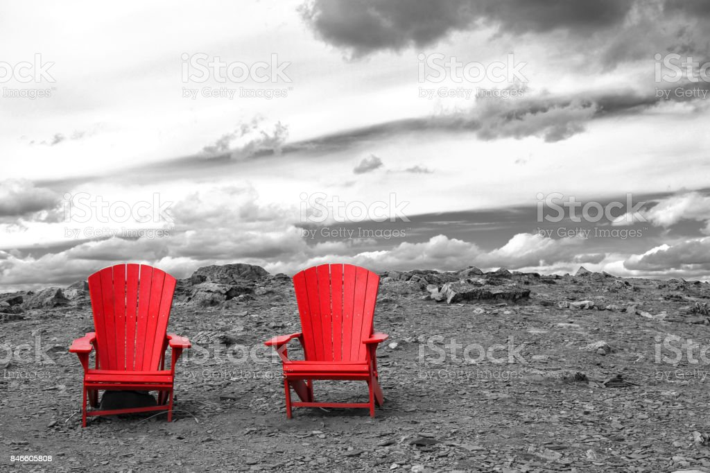 Two Red Chairs stock photo