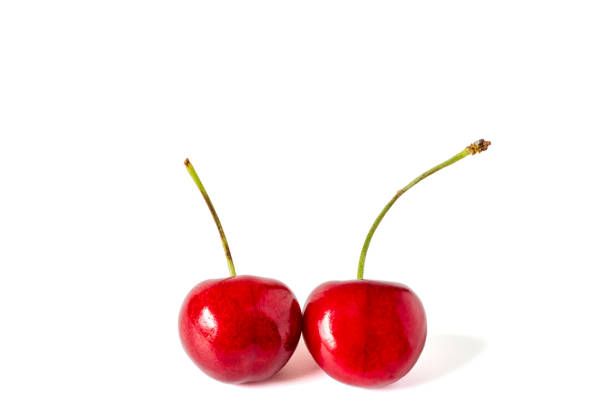 zwei rote kirschen - essensrezepte stock-fotos und bilder