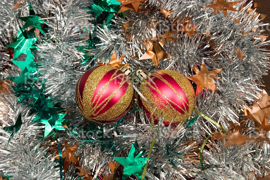 Two red Christmas balls royalty-free stock photo