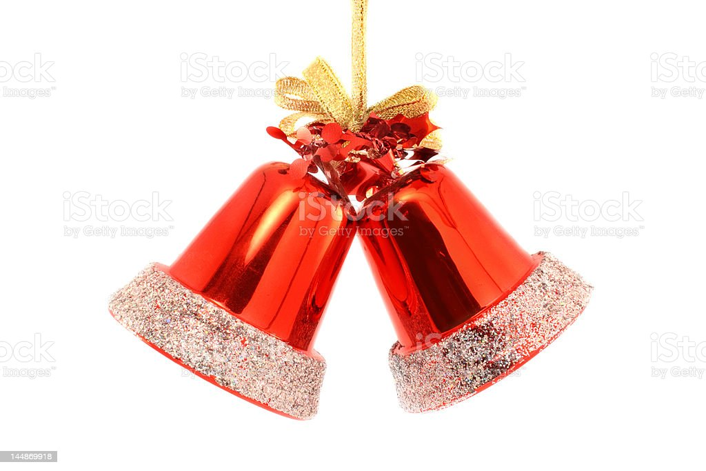 Two red christmas bells royalty-free stock photo