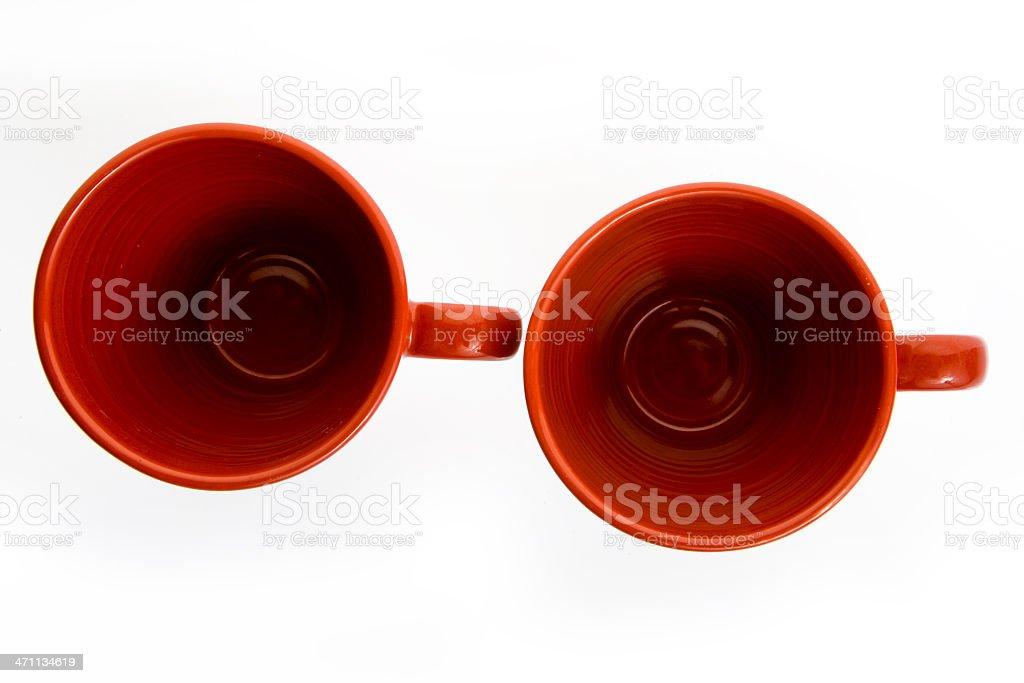 two red coffee cups from the top on white background stock photo