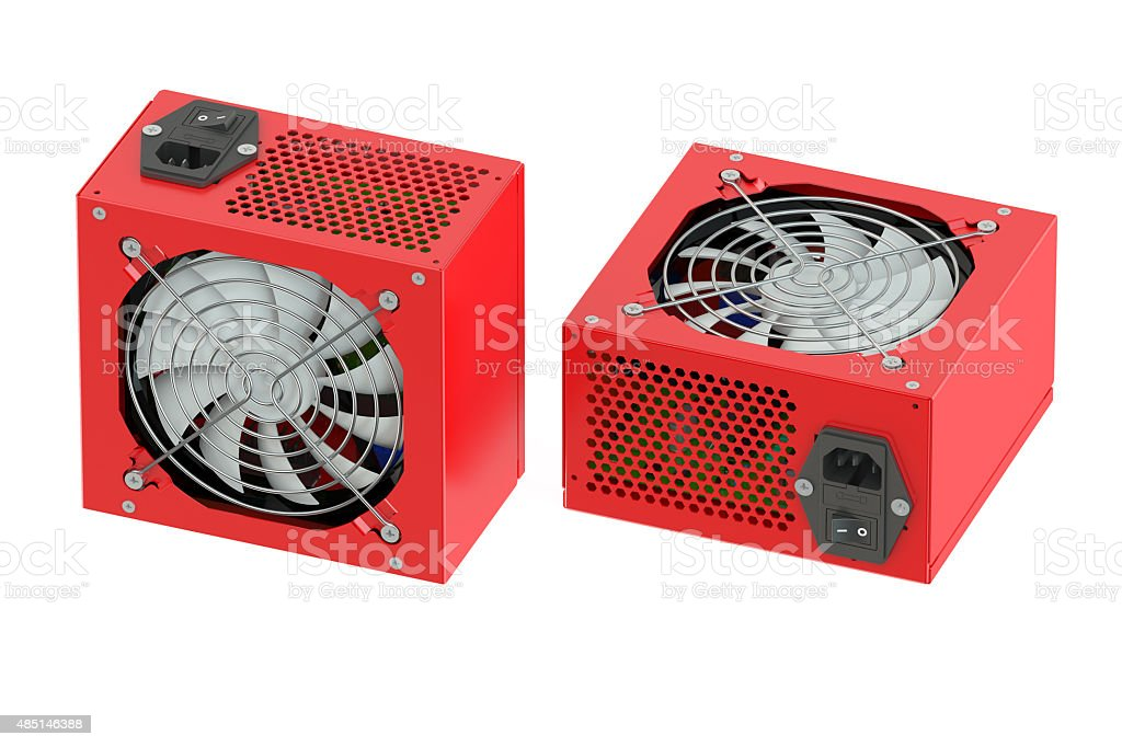 Two red computer Power Supply Units stock photo