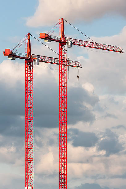 Two red crane on the sky background