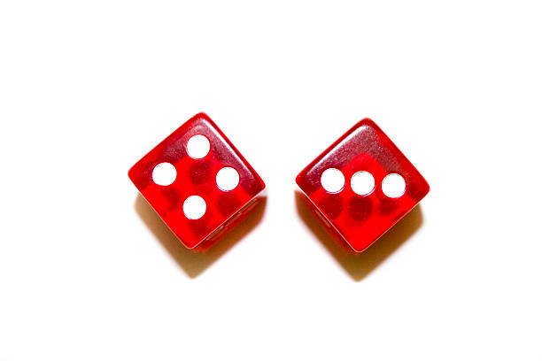 Two Red Dice Top View Looking Down stock photo