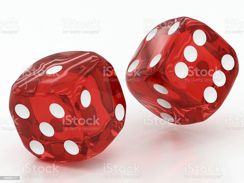 two red dices falling stock photo