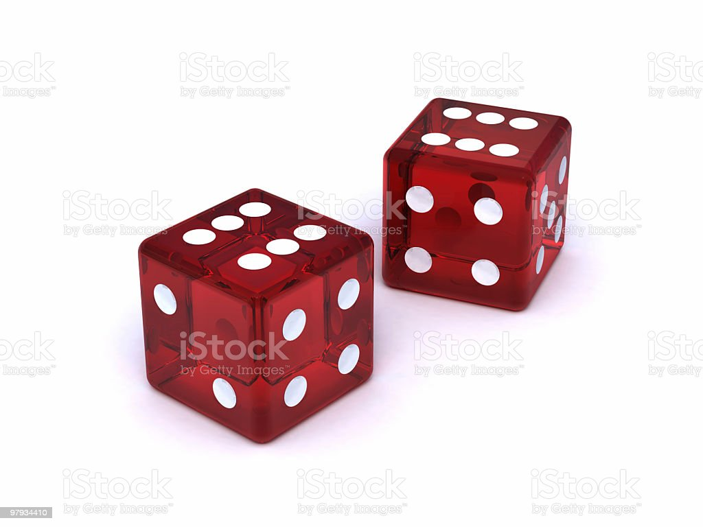 Two red dices royalty-free stock photo
