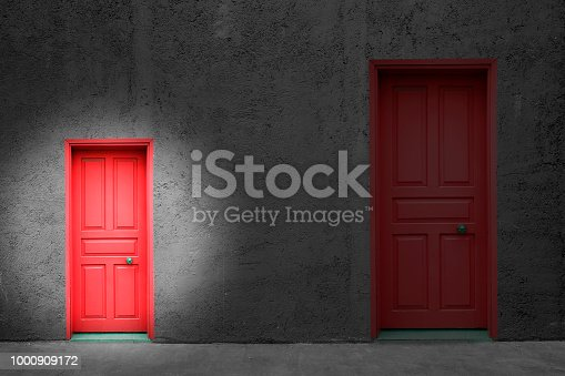 Choice concept doors on grunge wall