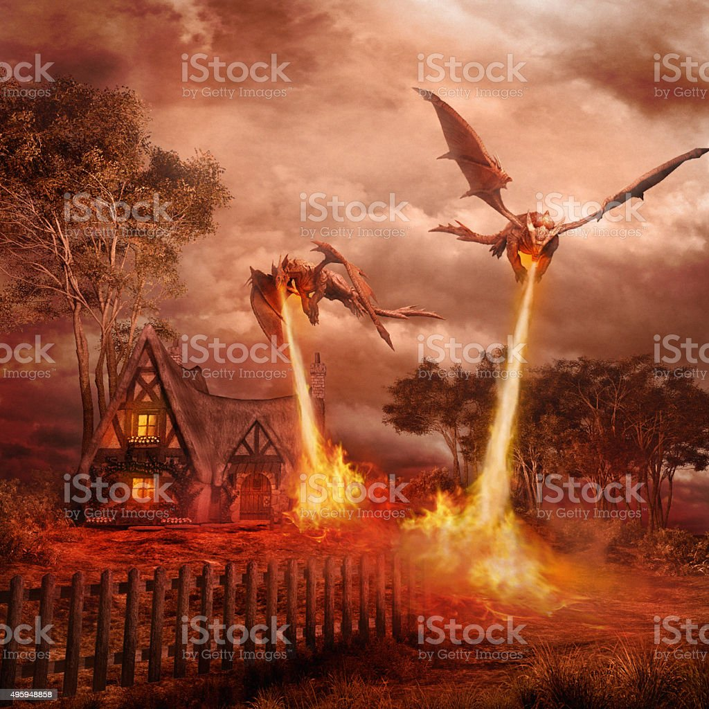 Two red dragons stock photo