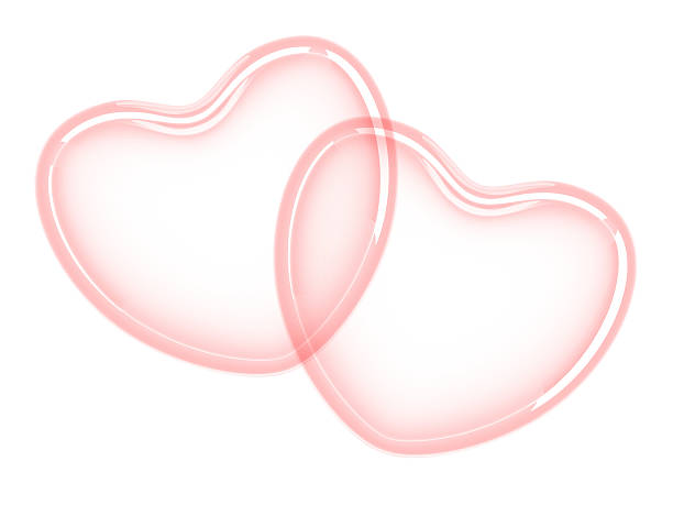 two red hearts - watermark stock photos and pictures