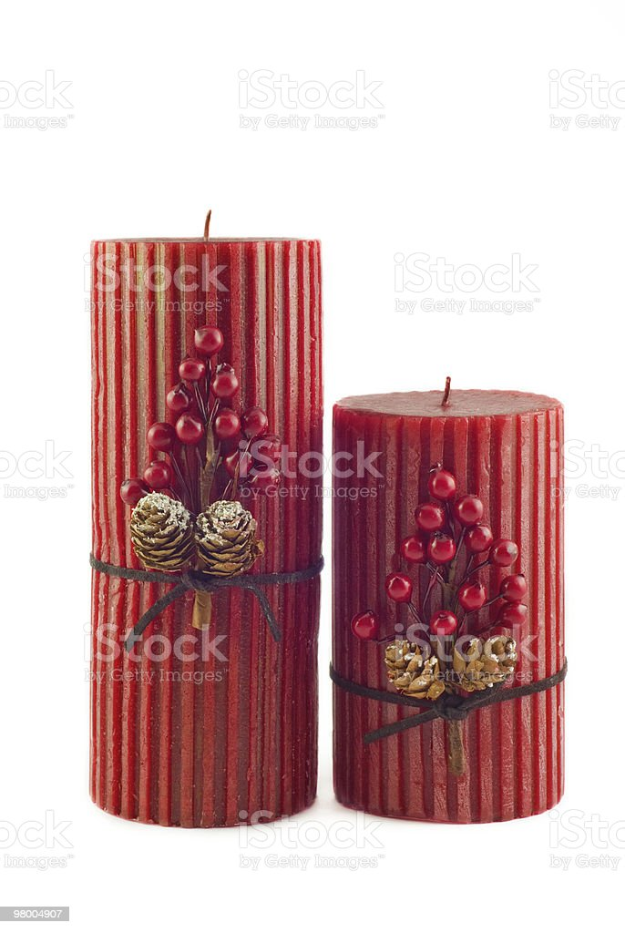 Two Red Holiday Candles royalty-free stock photo
