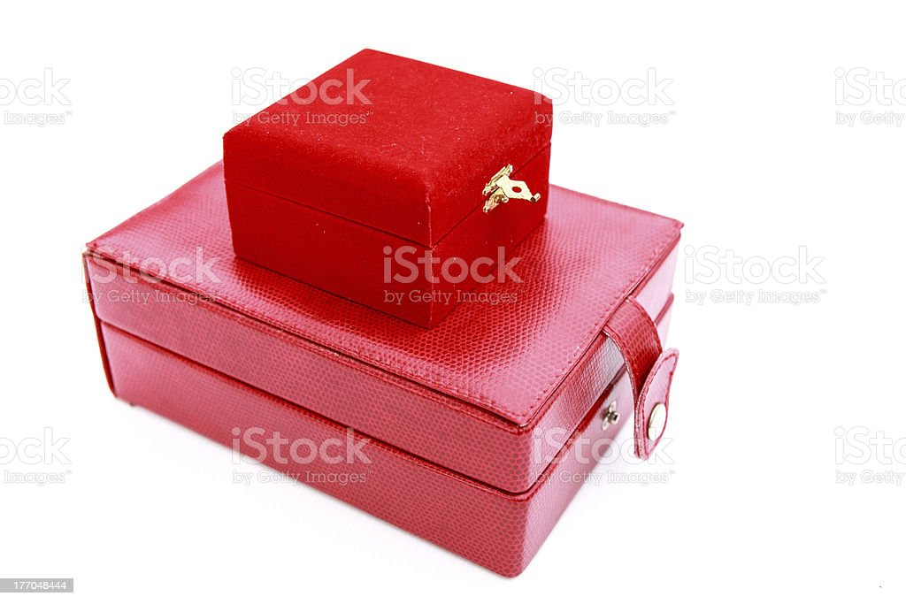 Two red leather box royalty-free stock photo