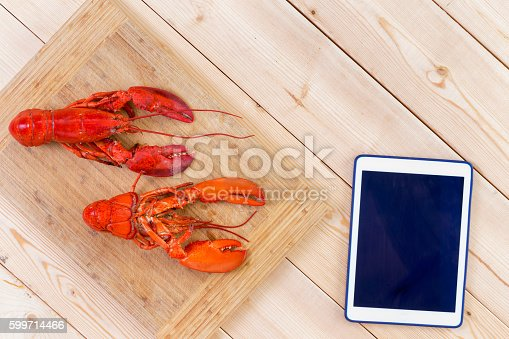 istock Two red lobsters ready for cooking 599714466