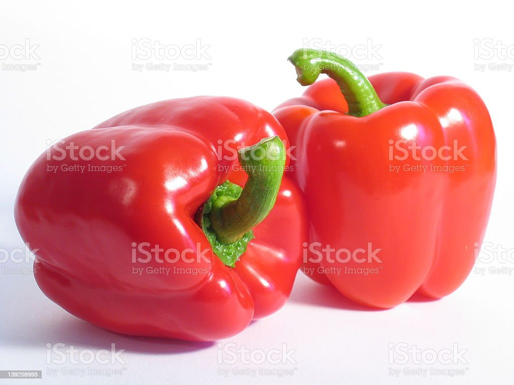 Two Red Peppers royalty-free stock photo