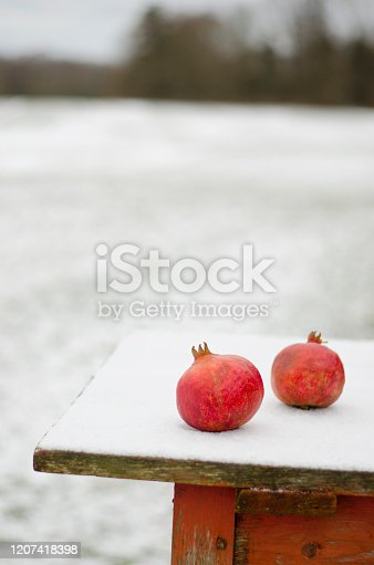 Two red pomegranate on snowy wooden table in winter farm yard