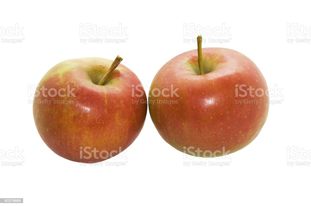 Two red ripe apples isolated royalty-free stock photo