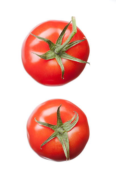 two red tomatoes isolated on white stock photo