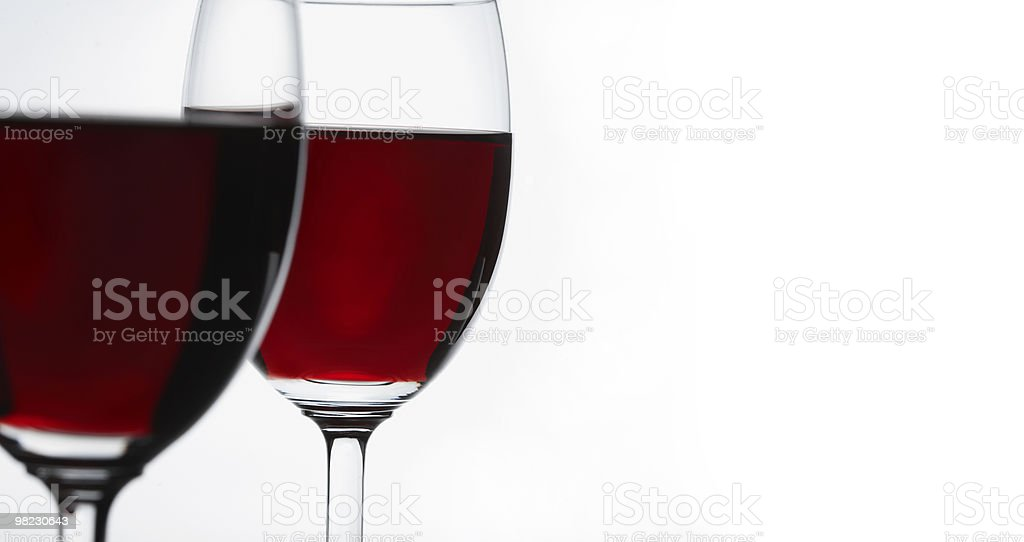 Two red wine glasses royalty-free stock photo