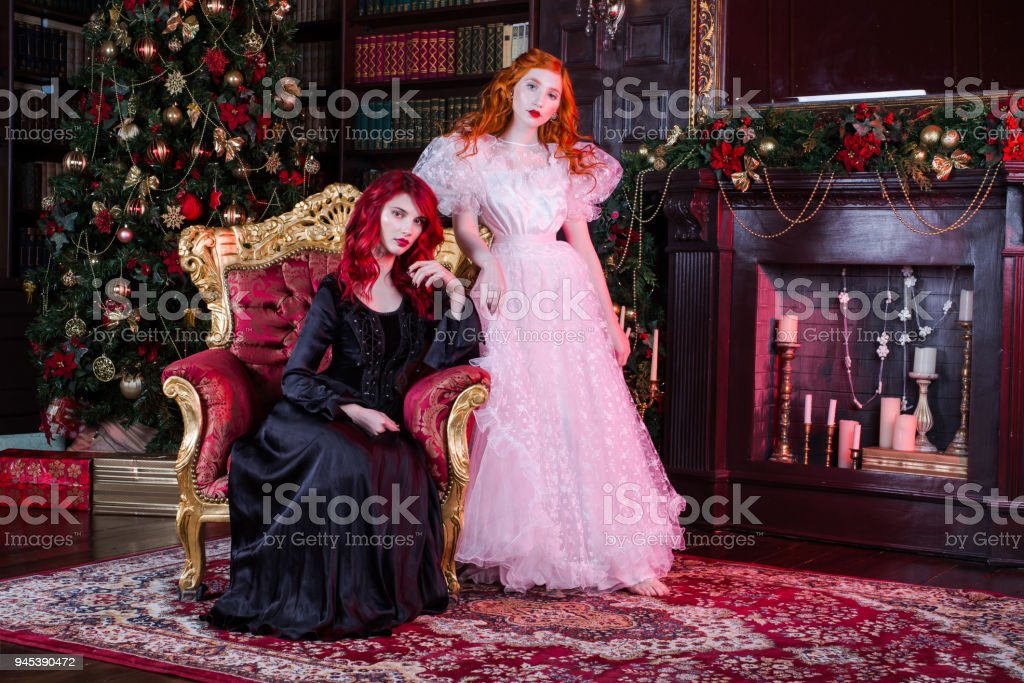 Charming girls posing together in christmas studio stock photo