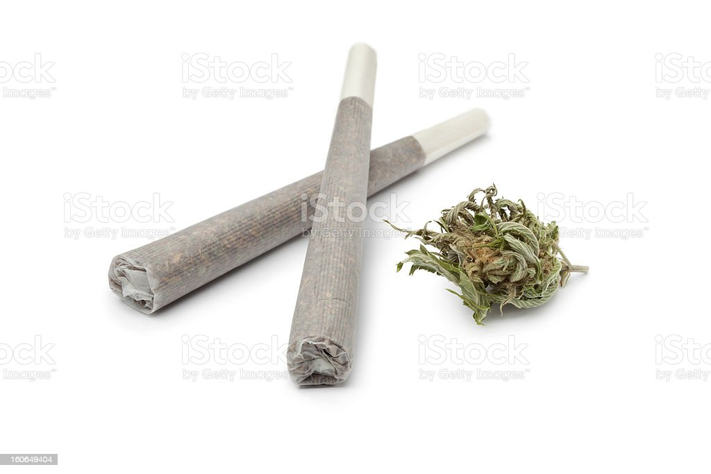 Two reefers with a Marijuana bud stock photo