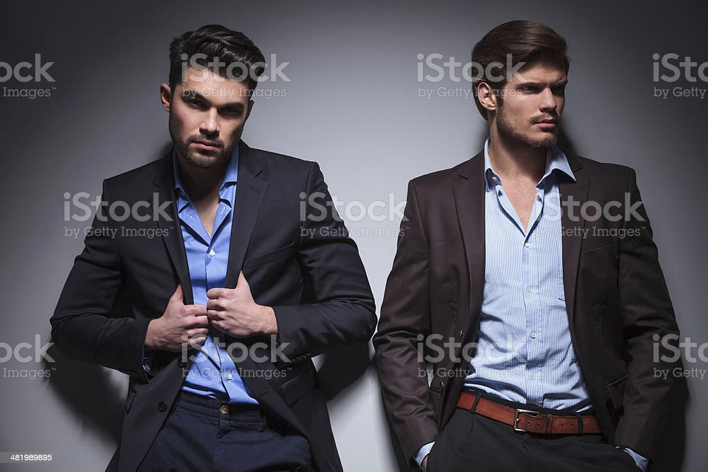 two relaxed fashion male models stock photo