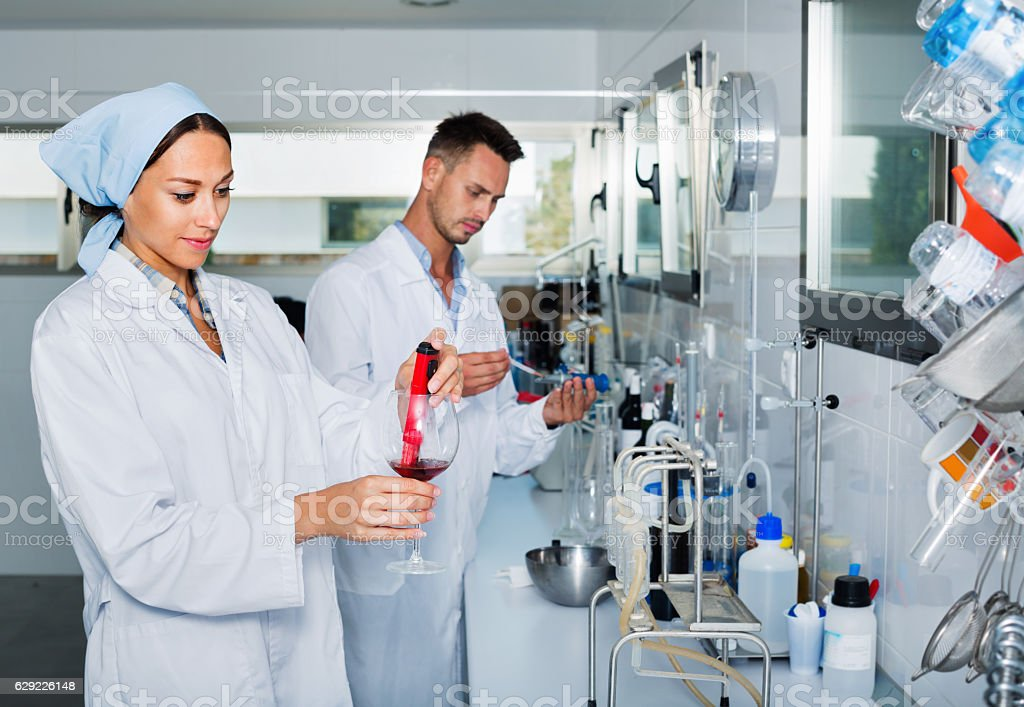 Two researchers in white coat checking wine acidity in laboratory stock photo