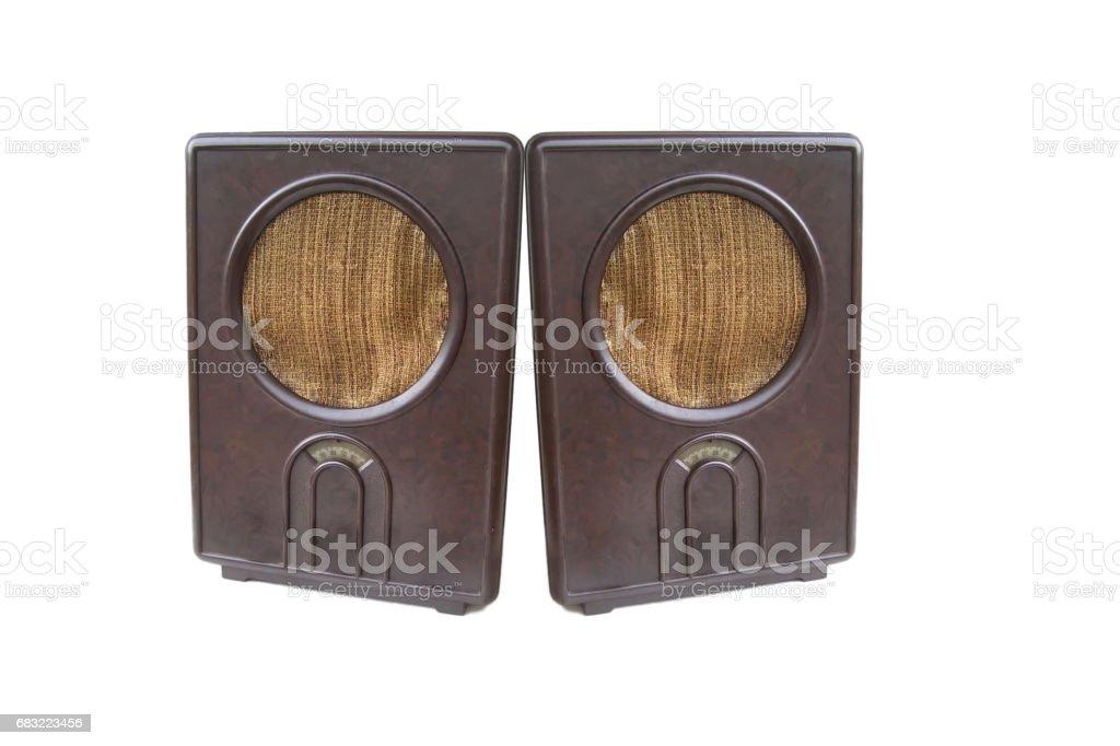 Two retro radio's , folk receiver isolated. stock photo