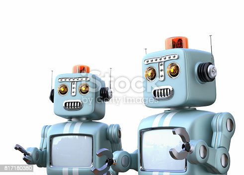 678279896 istock photo Two retro robots isolated on white background 817180380