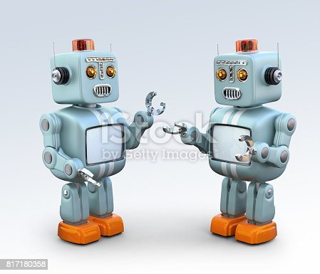 678279896 istock photo Two retro robots talking to each other 817180358