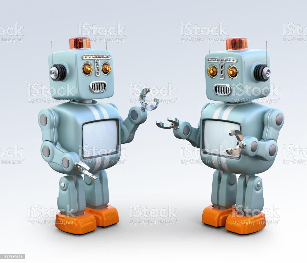 Zwei Retro-Roboter miteinander zu reden – Foto