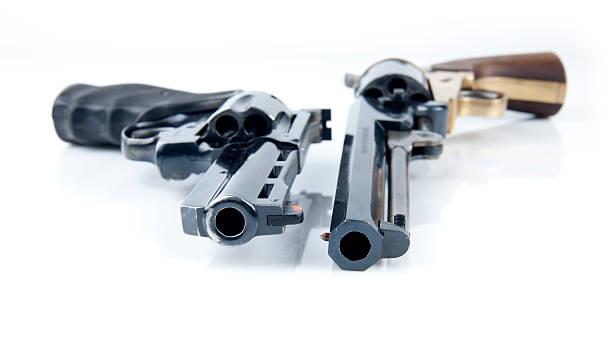 Two revolvers stock photo
