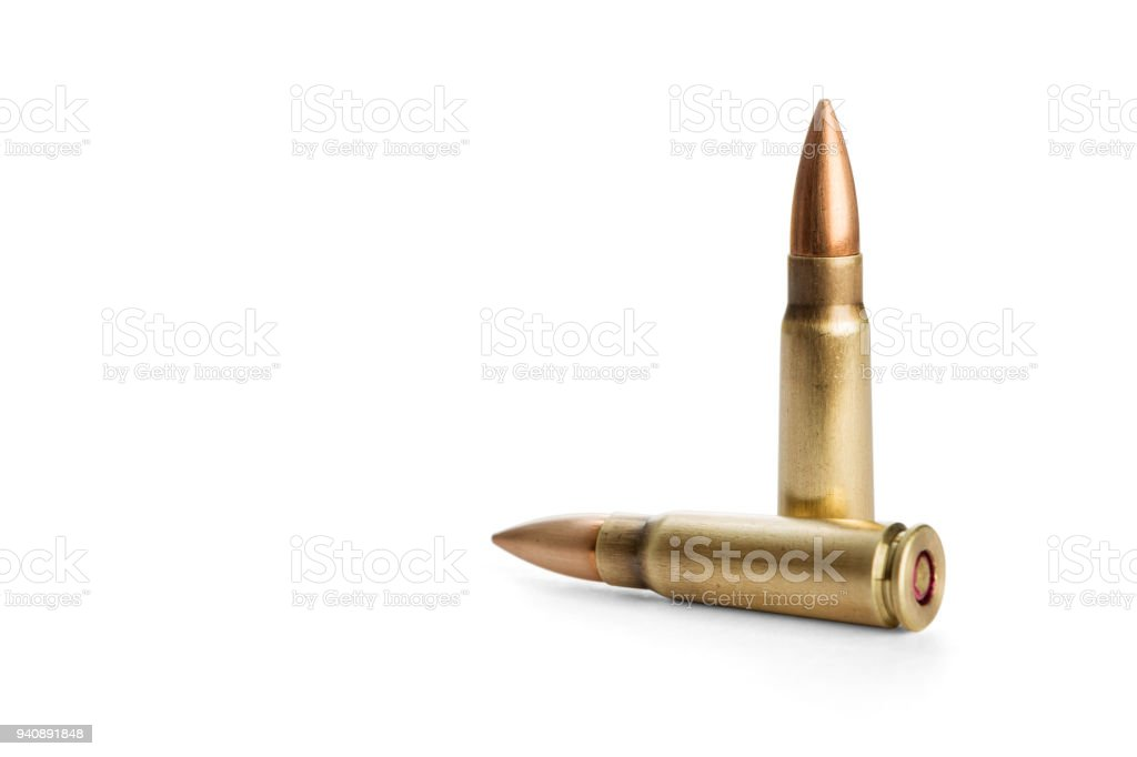 Two rifle bullets stock photo
