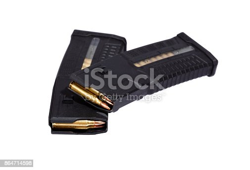 istock Two rifle magazins with bullets 864714598