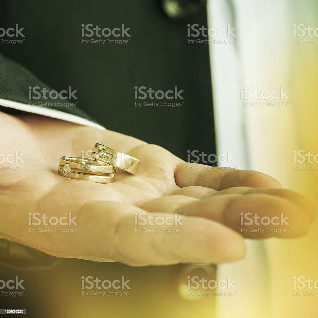 Two rings in the groom\'s hand