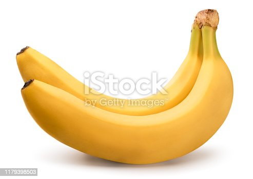 Two ripe bananas on a white background, isolated.