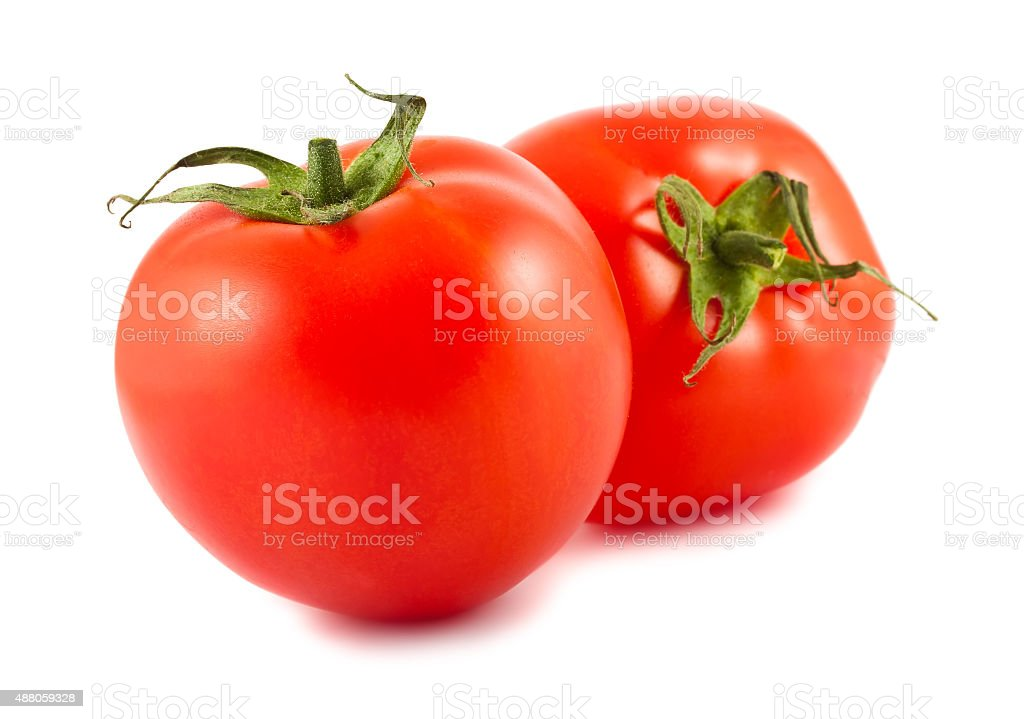 Two ripe red tomatoes stock photo
