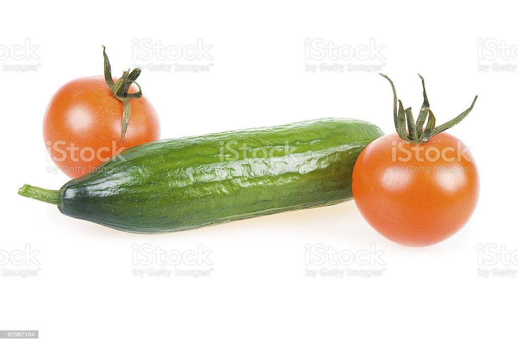 Two Ripe Tomatoes and Cucumber Isolated royalty-free stock photo