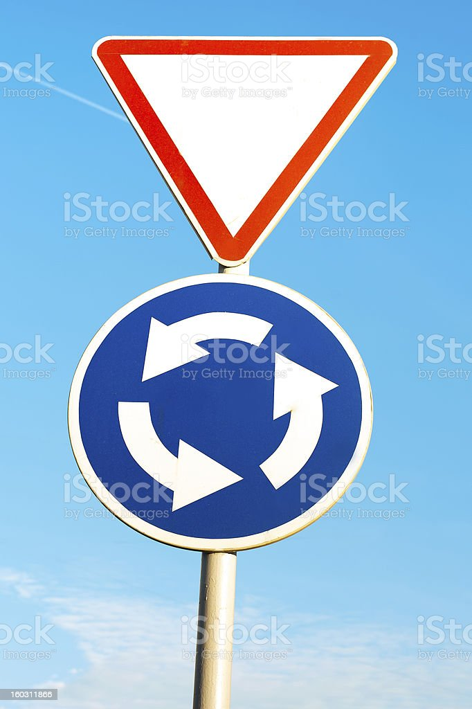 two road sign on blue sky royalty-free stock photo