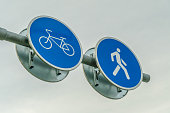 Two road signs side by side for pedestrians and cyclists close up against the sky and tree branches