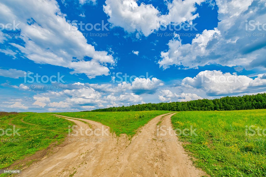 Two roads junction. stock photo