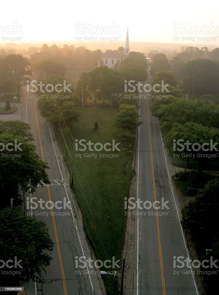 Two RoadsComing Together Sunrise Aerial royalty-free stock photo