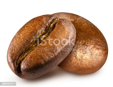 istock Two roasted coffee bean. 690592974