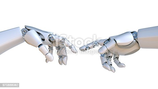 istock Two robot hands as Michelangelo's Creation of Adam 970888062
