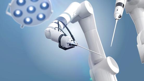 3d render of a robotic surgery scene