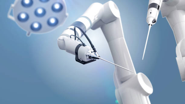 Two robot surgeon arms and an operating table with a light 3d render of a robotic surgery scene biomedical illustration stock pictures, royalty-free photos & images