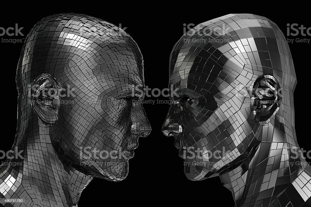 Two Robots in profile looking at each other stock photo