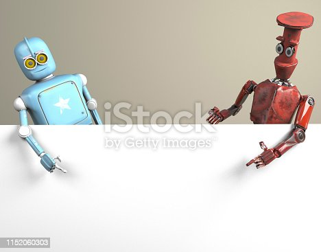istock two robots vitage peeks out from behind the walls banner 1152060303
