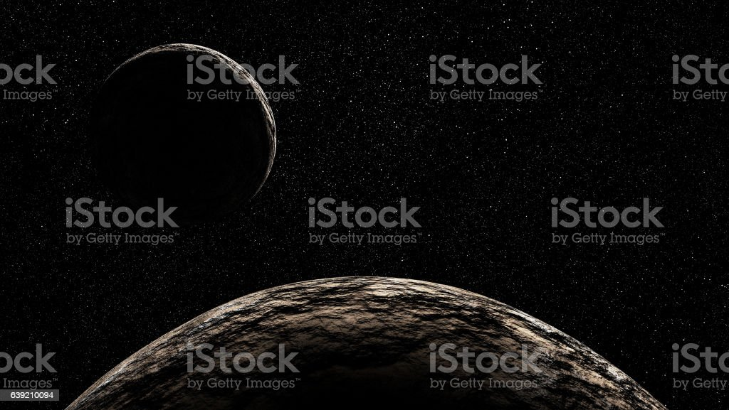two rocky planets in deep starry space stock photo