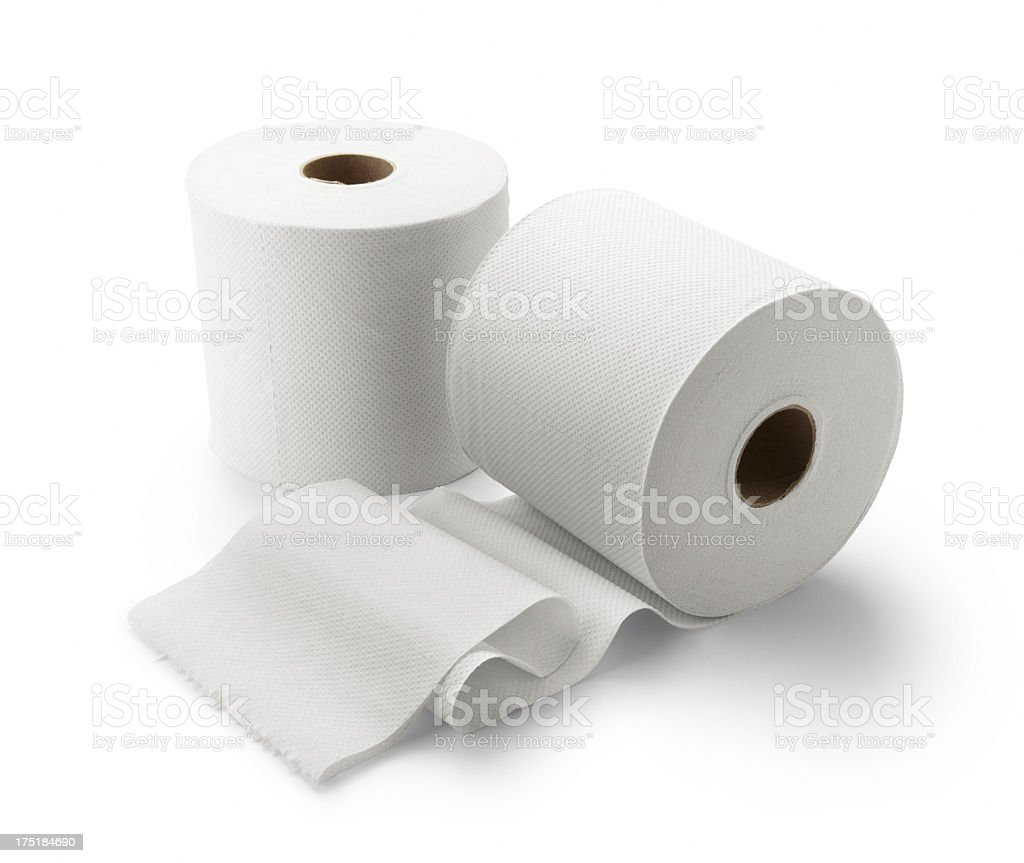 Two rolls of toilet paper on white background stock photo