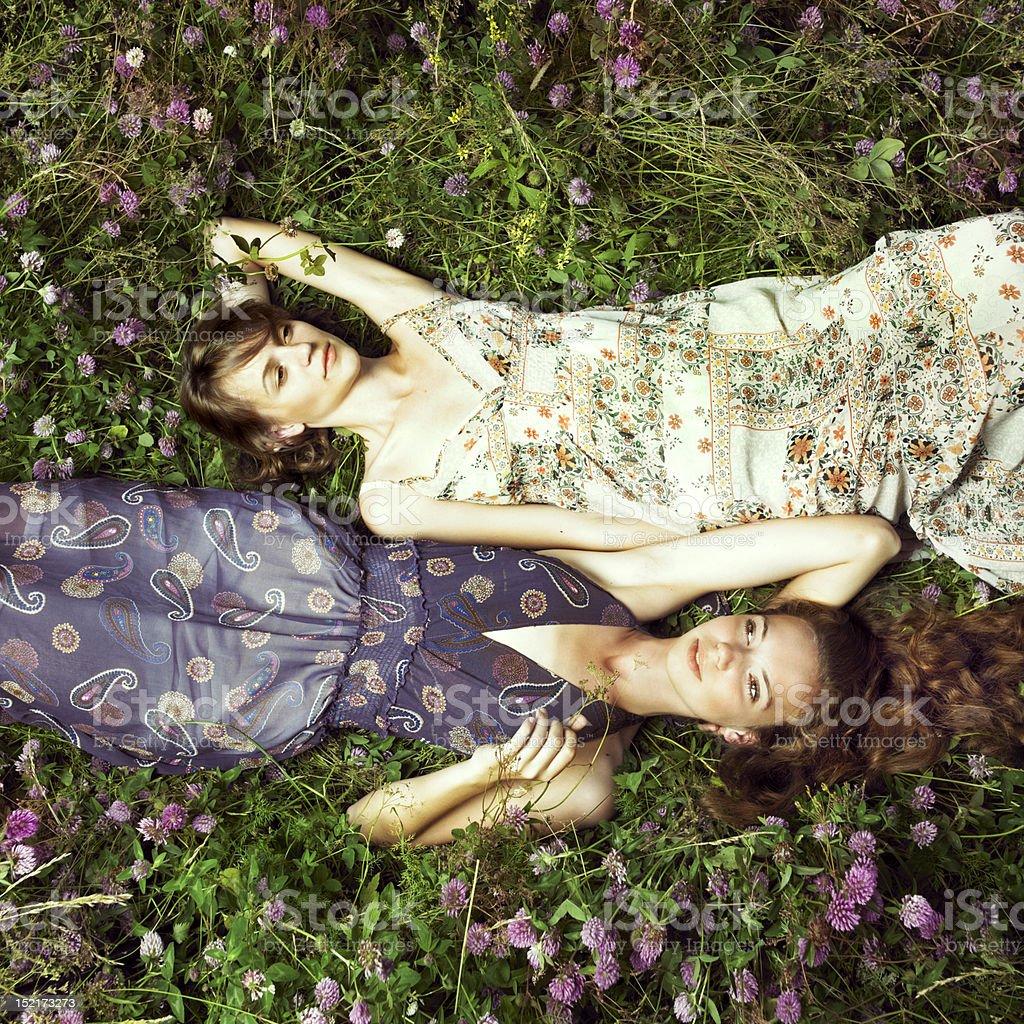 Two romantic girl stock photo